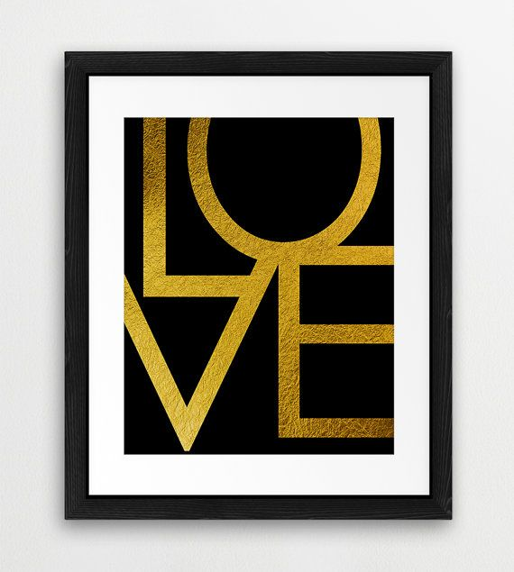 Love Print, Love Word Wall Art, Love Gold Foil And Black, Gold Decor ...
