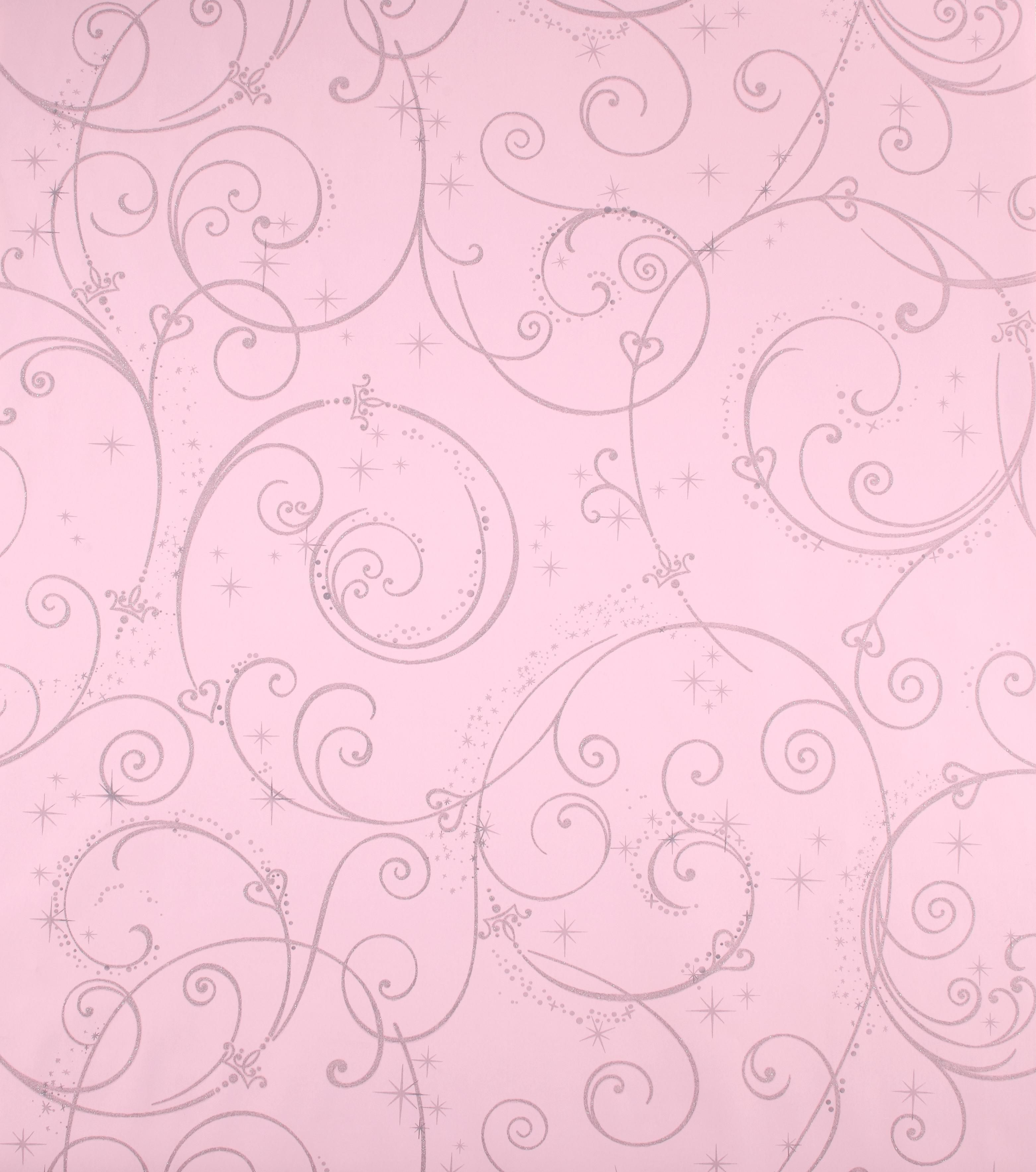 Disney Princess Pink Perfect Princess Glitter Swirl Wallpaper