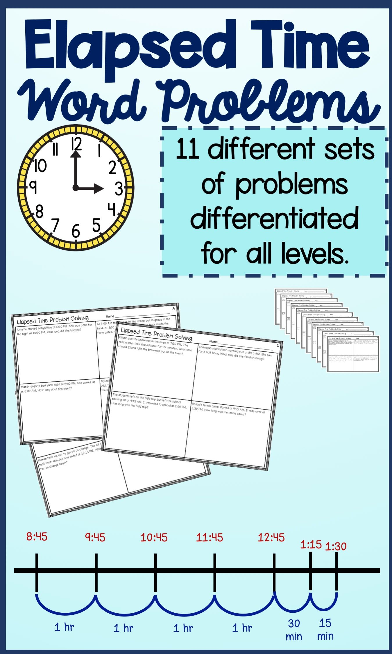 Elapsed Time Word Problems With Images