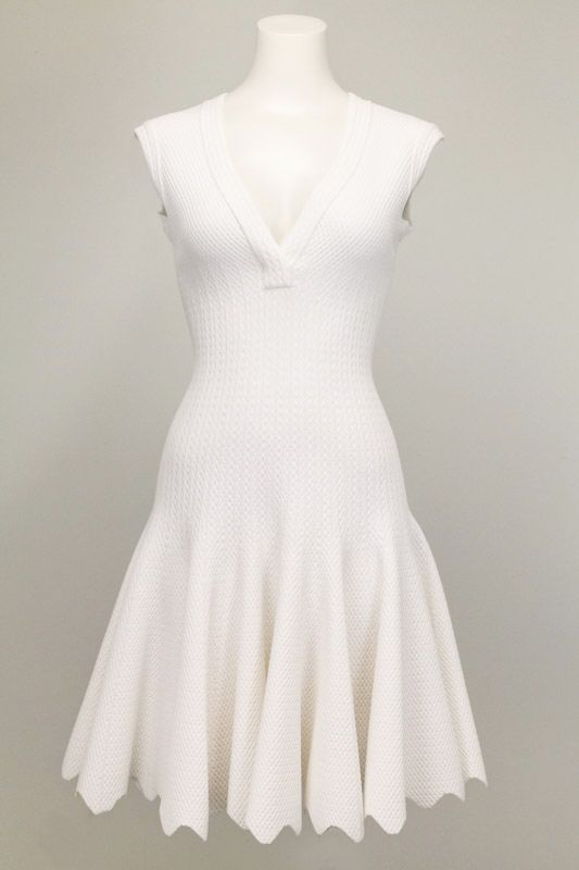 716afc56188 Azzedine Alaia Sleeveless V-Neck Dress in white