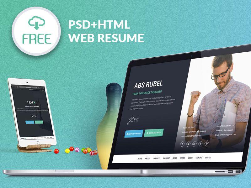 I-AM-X Freebie web resume template (PSD+HTML) Template and Web - web resume templates