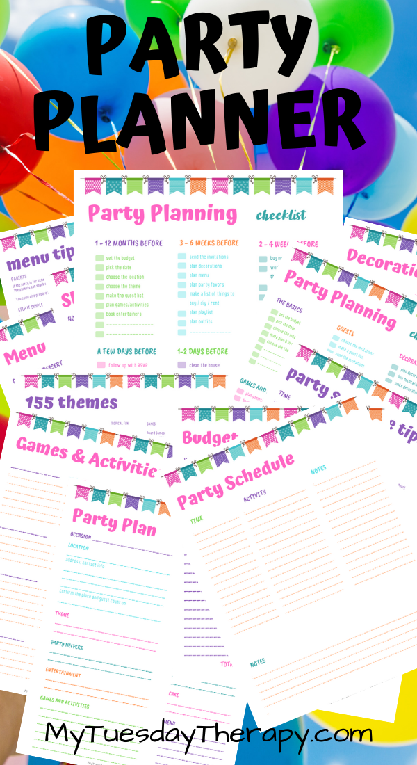 Party Planner Printable With Images Party Planners Printable