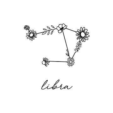 Pegatina 'Libra Zodiac Wildflower Constellation' de aterkaderk