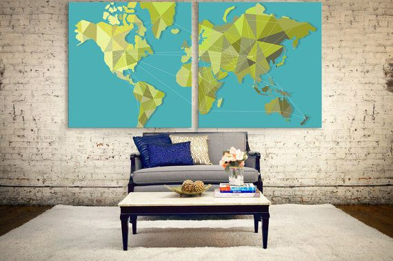 Large green geometric map, polygonal world map canvas