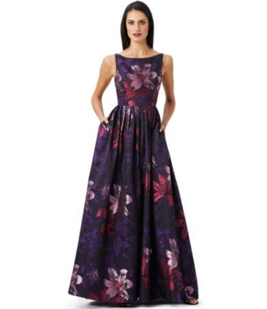 Shop for Adrianna Papell Floral Jacquard A-Line Gown at Dillards ...
