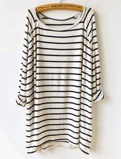 0b18447302a0 White Black Striped Loose T-Shirt