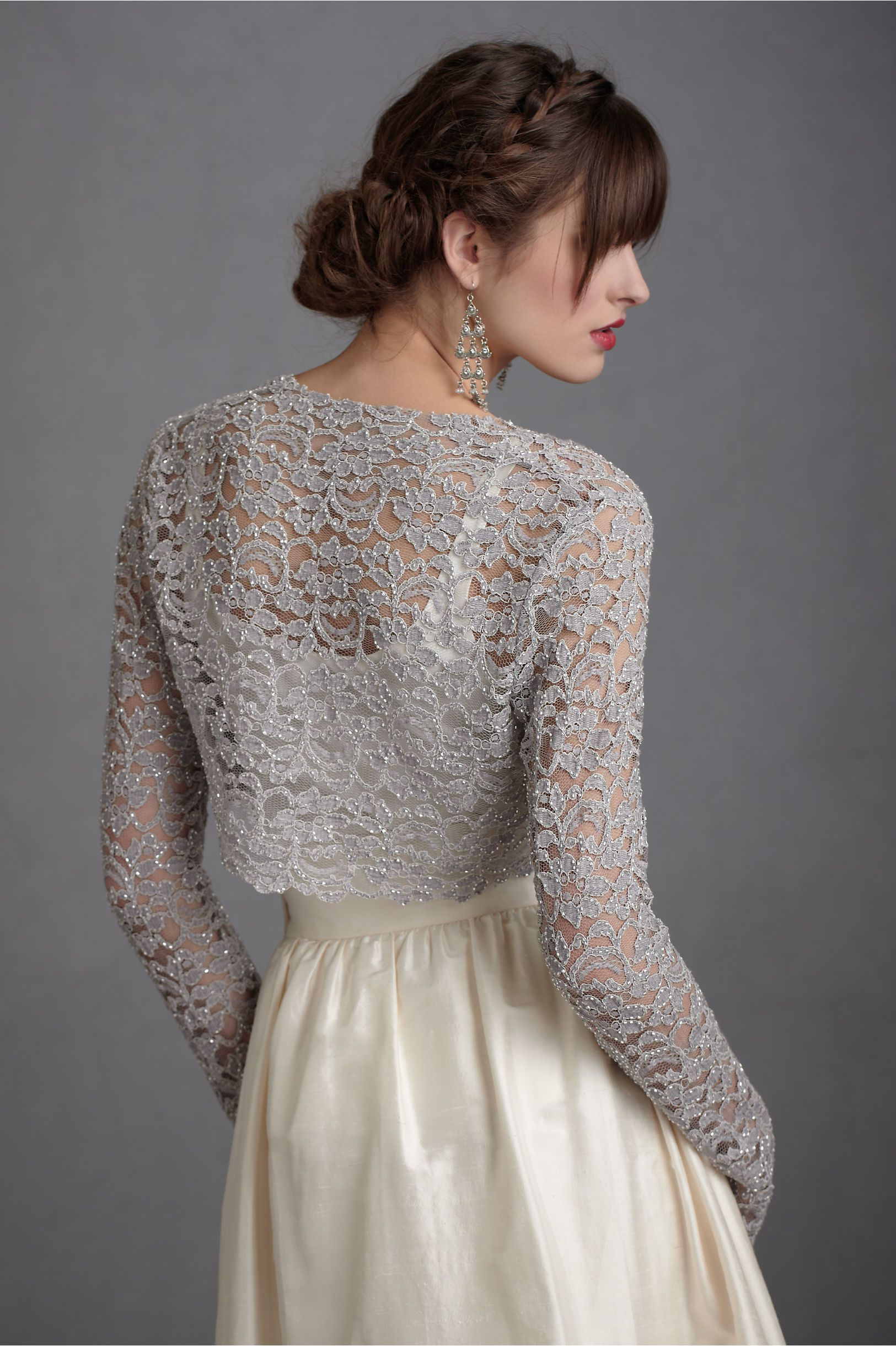 Lady grey shrug from bhldn clothes i love pinterest for Sweater over wedding dress