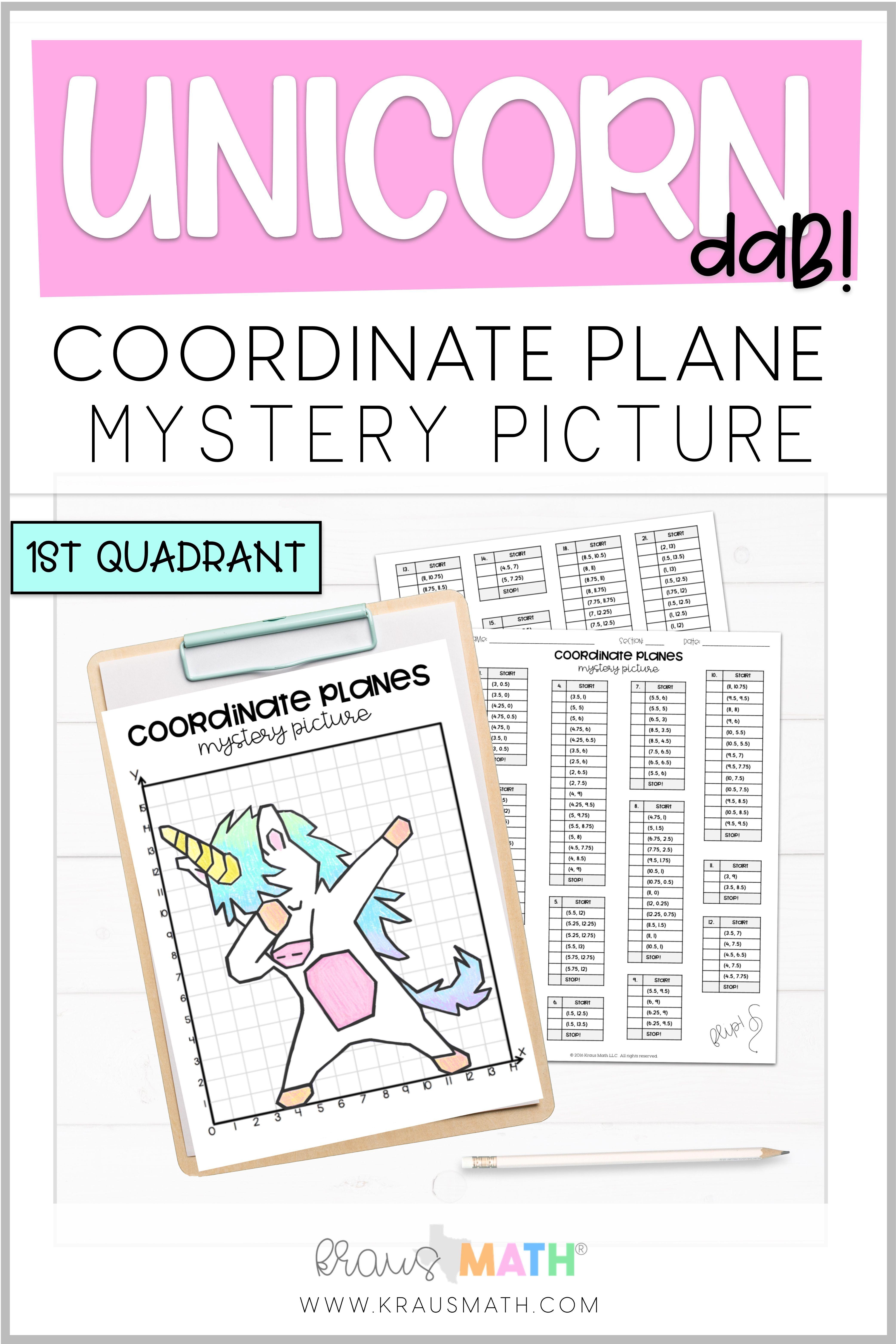 Unicorn Dab Coordinate Plane Mystery Picture 1st Quadrant