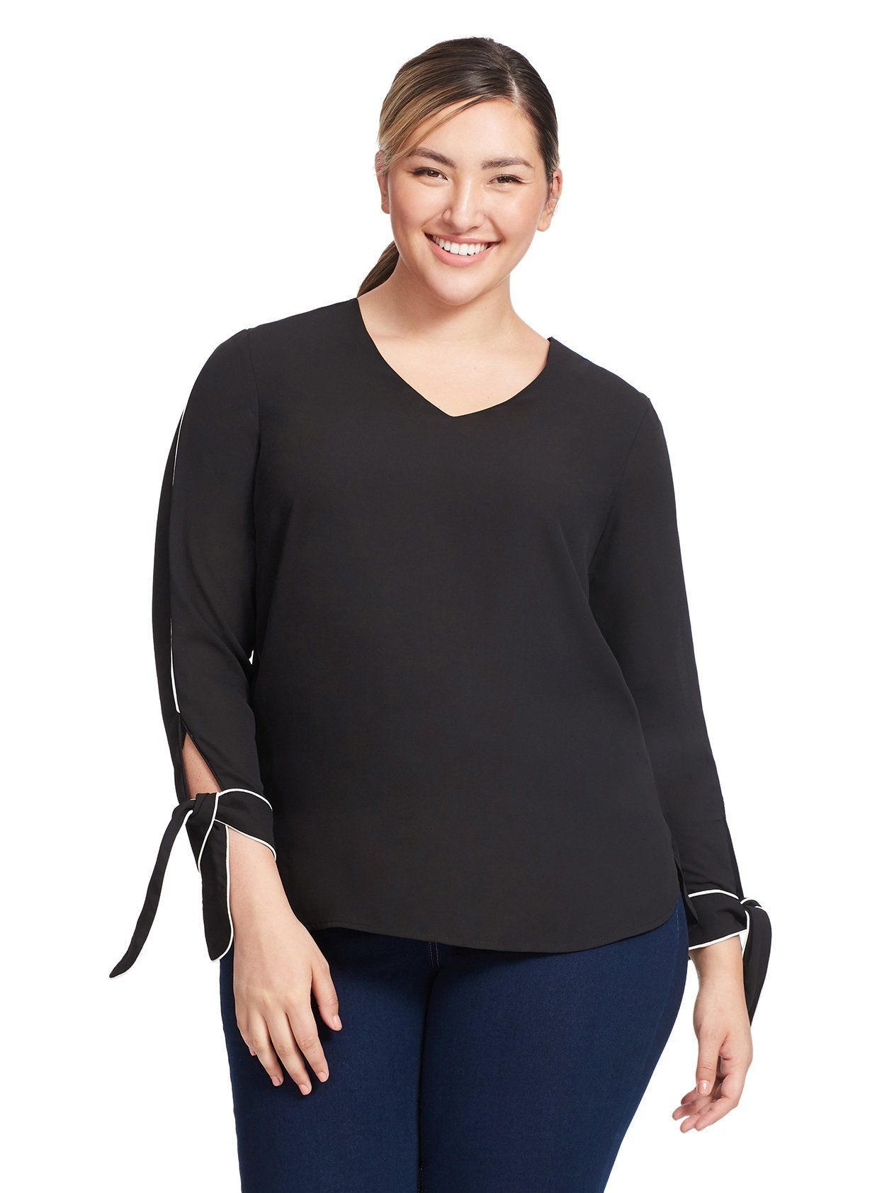 5873deac8990b Piped Tie Cuff Blouse by REBEL WILSON x ANGELS