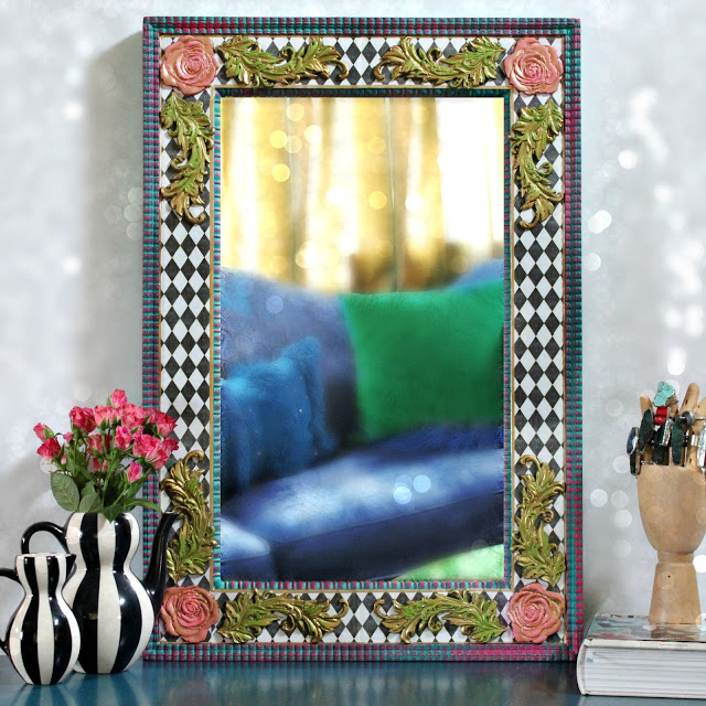 Mark Montano: Harlequin Mirror from Thrift Store Find #thriftstorefinds