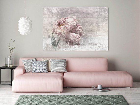 Romantic Peony Floral Painting Canvas Print Shabby Chic Rustic Blur Blush Pink Gray Large Canvas Art Print Up To 72 By Irena Orlov Pink Abstract Art Shabby Chic Painting Shabby Chic
