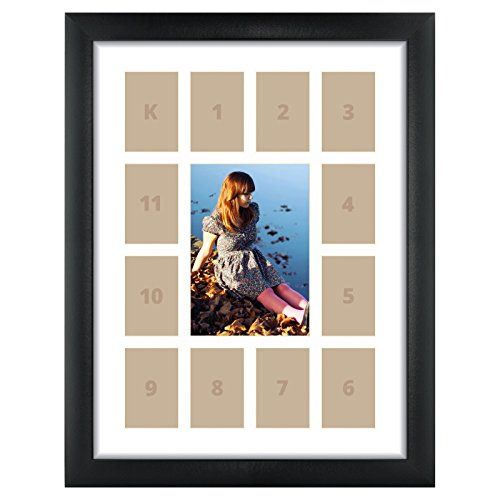 Craig Frames 1WB3BK 12 by 16-Inch Black Picture Frame, Single White ...