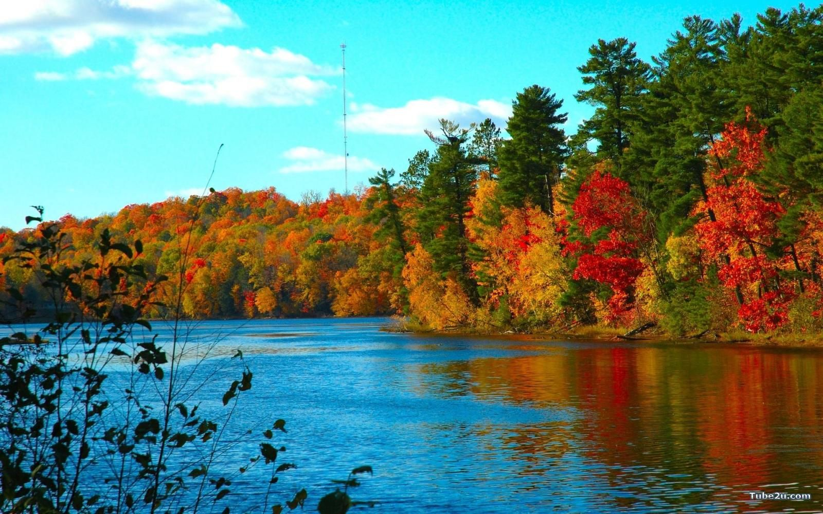 fall foliage wallpaper | beautiful fall leaves on lake wallpaper