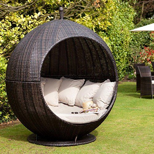 maze rattan brown apple day bed outdoor garden furniture lounger amazoncouk