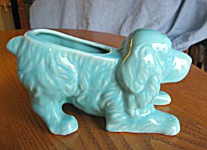 Vintage Terrier Dog Head on Ribbed Pale Green Planter ***FREE SHIPPING