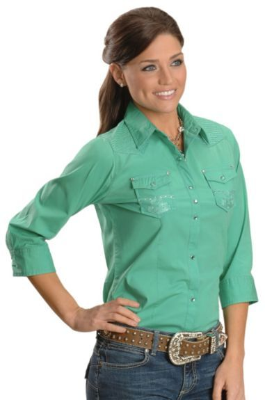 9b1a90acb81 Wrangler Rock 47 Electric Green Embroidered Yoke Western Top available at   Sheplers