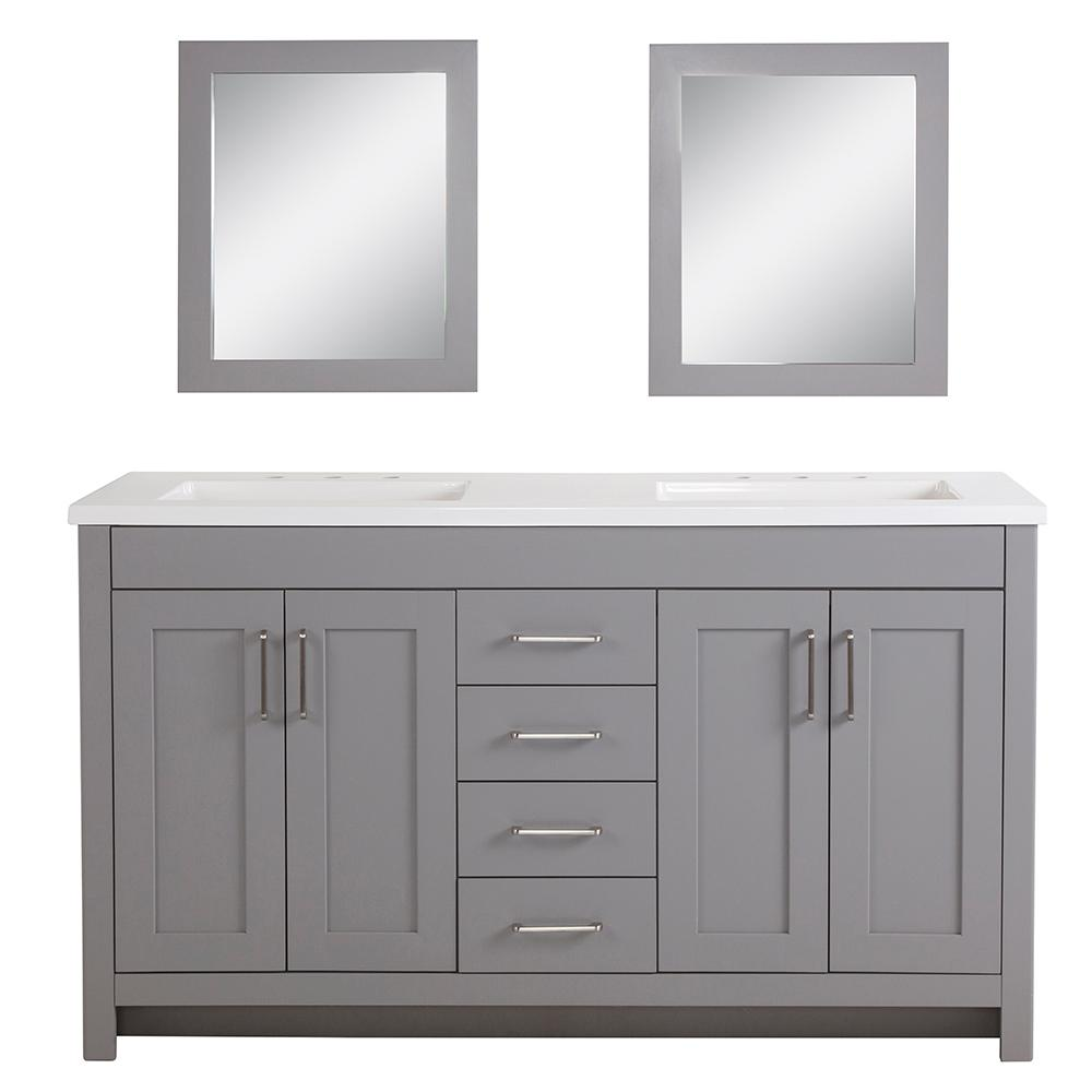 Home Decorators Collection Westcourt 61 In W Bath Vanity In Sterling Gray With Vanity Top In White With White Sinks And Mirrors Wt60p4 St The Home Depot White Sink Vanity Top Sterling White vanity with gray top