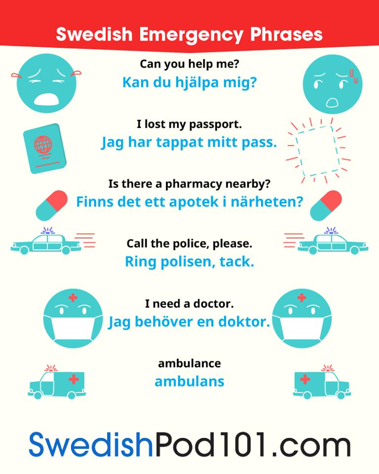 Swedish Emergency Phrases   Learn swedish