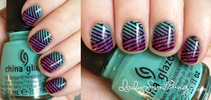 Gradient with Lines Nails.