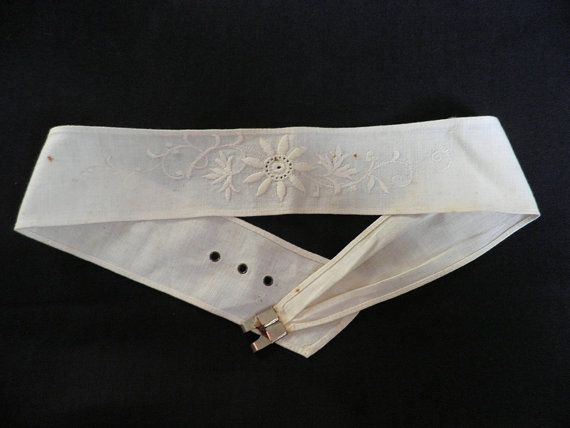 Embroidered Linen Sash - Vintage.  I need something to go around my waist, because there's a gap between my back & the dress. An option?