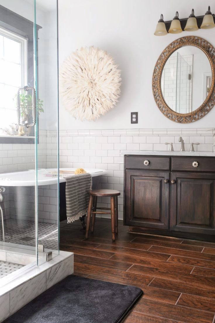 African tiles bathroom - Dark Wood Look Tile Floor White Subway Tile Wall