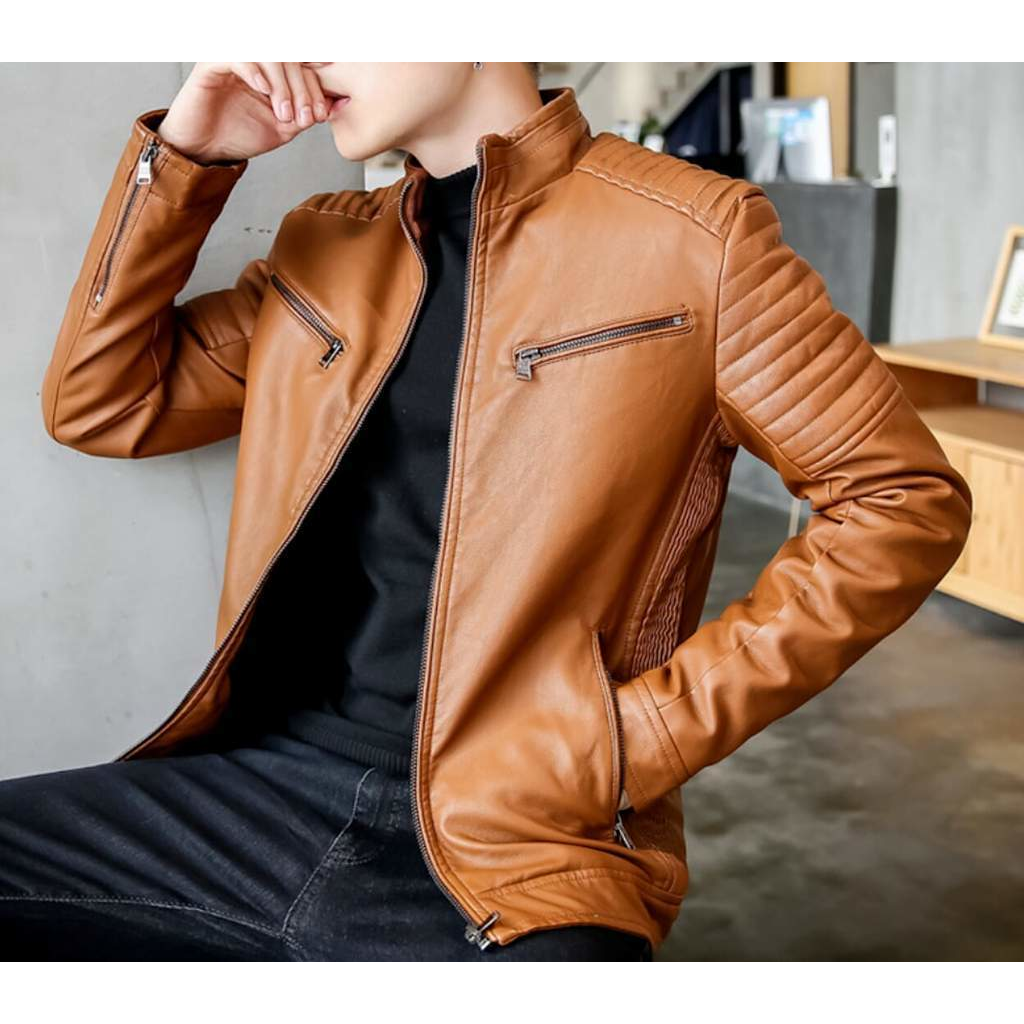 Men's Stand Collar Motorcycle Faux Leather Jacket in Brown