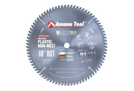 Amana Tool Lb10801c Electro Blu Carbide Tipped Non Melt Plastic 10 Inch D X 80t M Tcg 2 Deg 5 8 Bore In 2020 Circular Saw Blades Cast Acrylic Sheet Melted Plastic