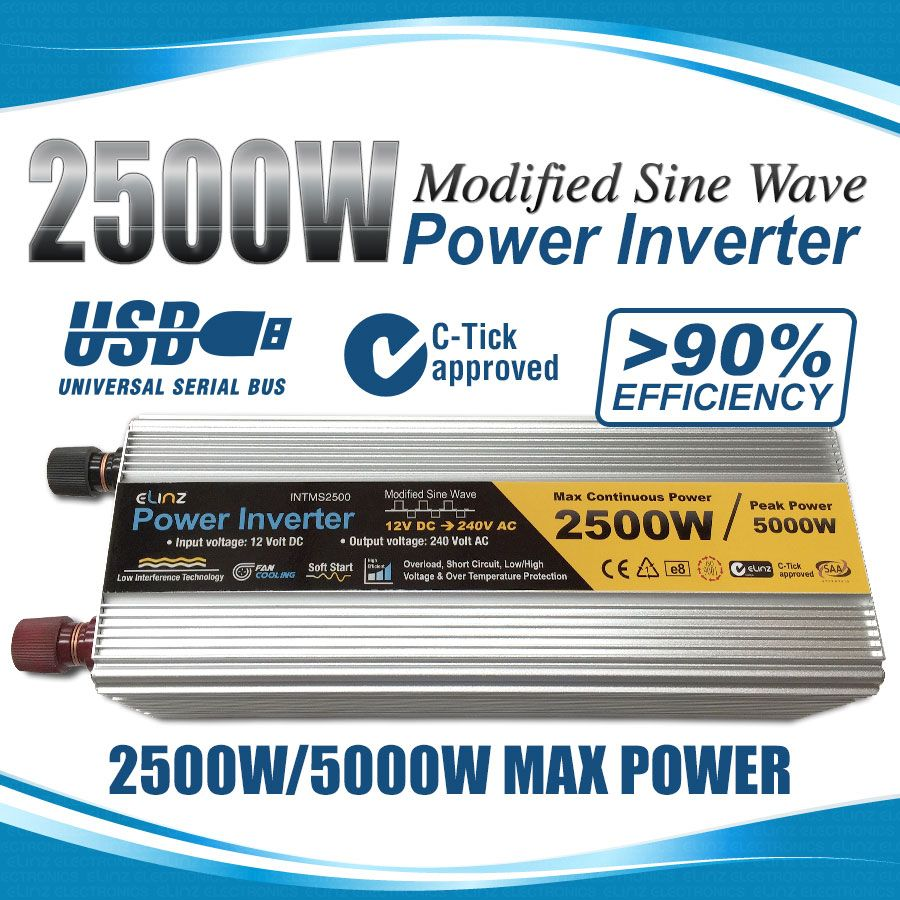 2500w 5000w 12v 240v Power Inverter Modified Sine Wave Camping Electronics Circuit Supplay Caravan Boat