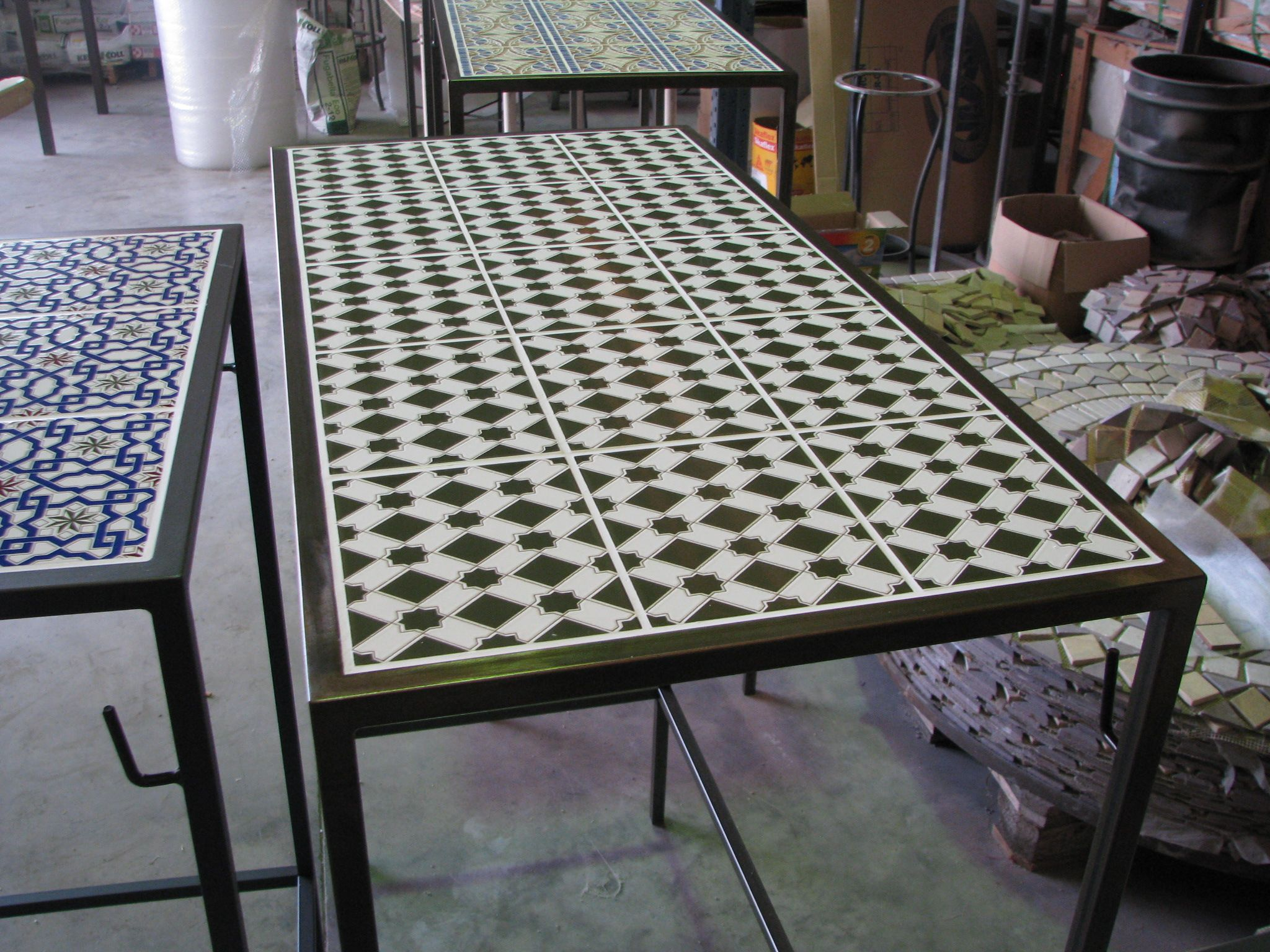 Custom steel table with tiled top and spotted gum bench seat | Our ...