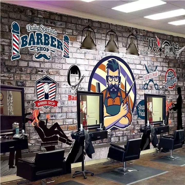 Custom Wallpaper Mural Retro Wallcovering for Barber Shop Hair Salon (㎡)