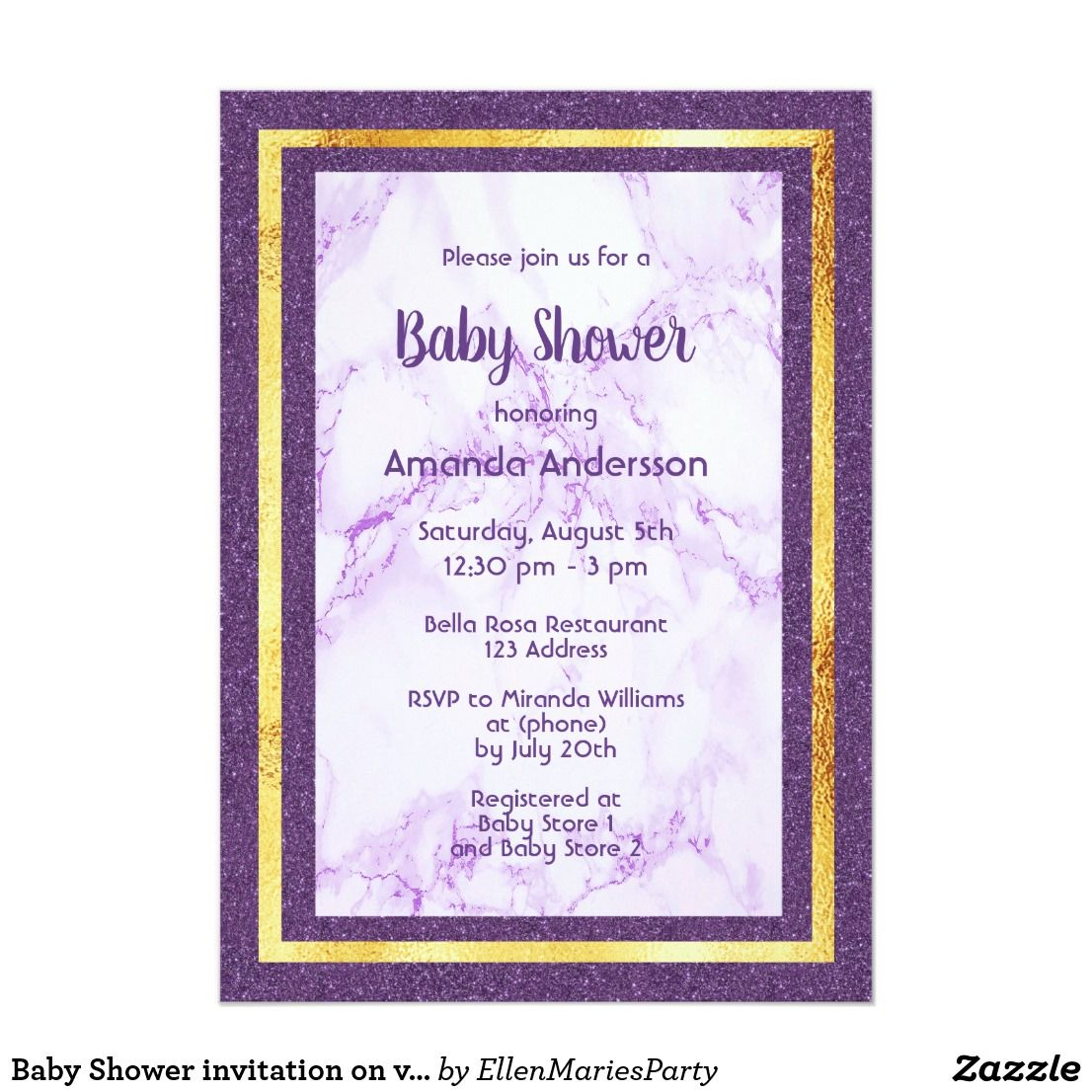 Baby Shower Invitation Letter Mesmerizing Baby Shower Invitation On Violet Marble Glitter  Elegant .