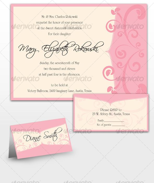 Mary Sweet Sixteen Invitations | Template, Card templates and Font logo