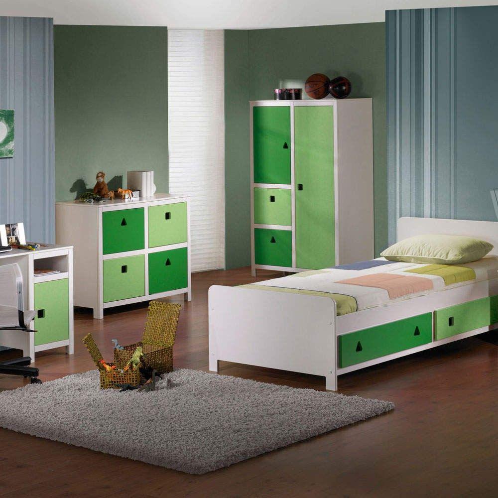 Kinderzimmerschrank weiß  Kinderbett This mit zwei Schubladen in Grün-Weiß | Wohnen.de ...