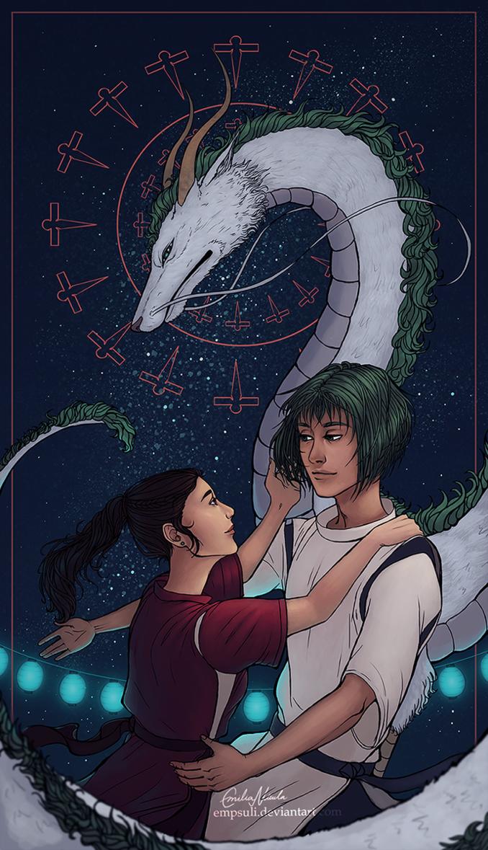Spirited Away  Chihiro and Haku and his dragon form   Ghibli art ...