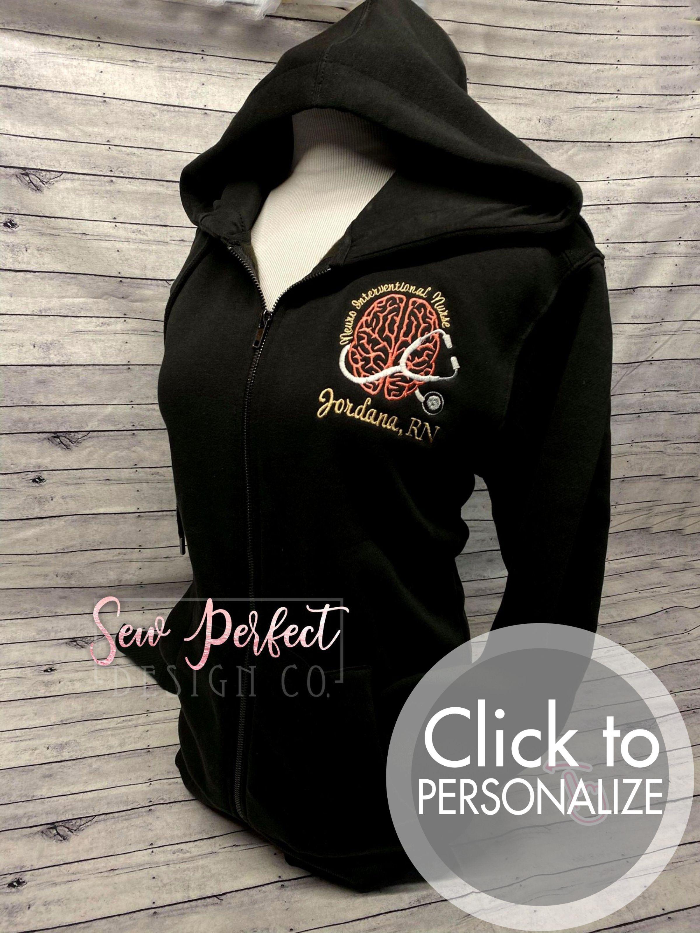 Embroidered Neuro Interventional Nurse Full Zip Sweatshirt - Unisex SMALL / Scuba