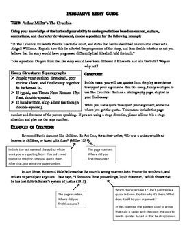 Simple Essays In English A Guide To Writing A Persuasive Essay With Helpful Hints About Thesis  Statements And Intext Citations Includes A Sample Essay Topic For The  Crucible Sample Of Research Essay Paper also Essays On English Language Persuasive Essay Sample Guide  Writing Exercises  Persuasive  Proposal Essay Topics Ideas