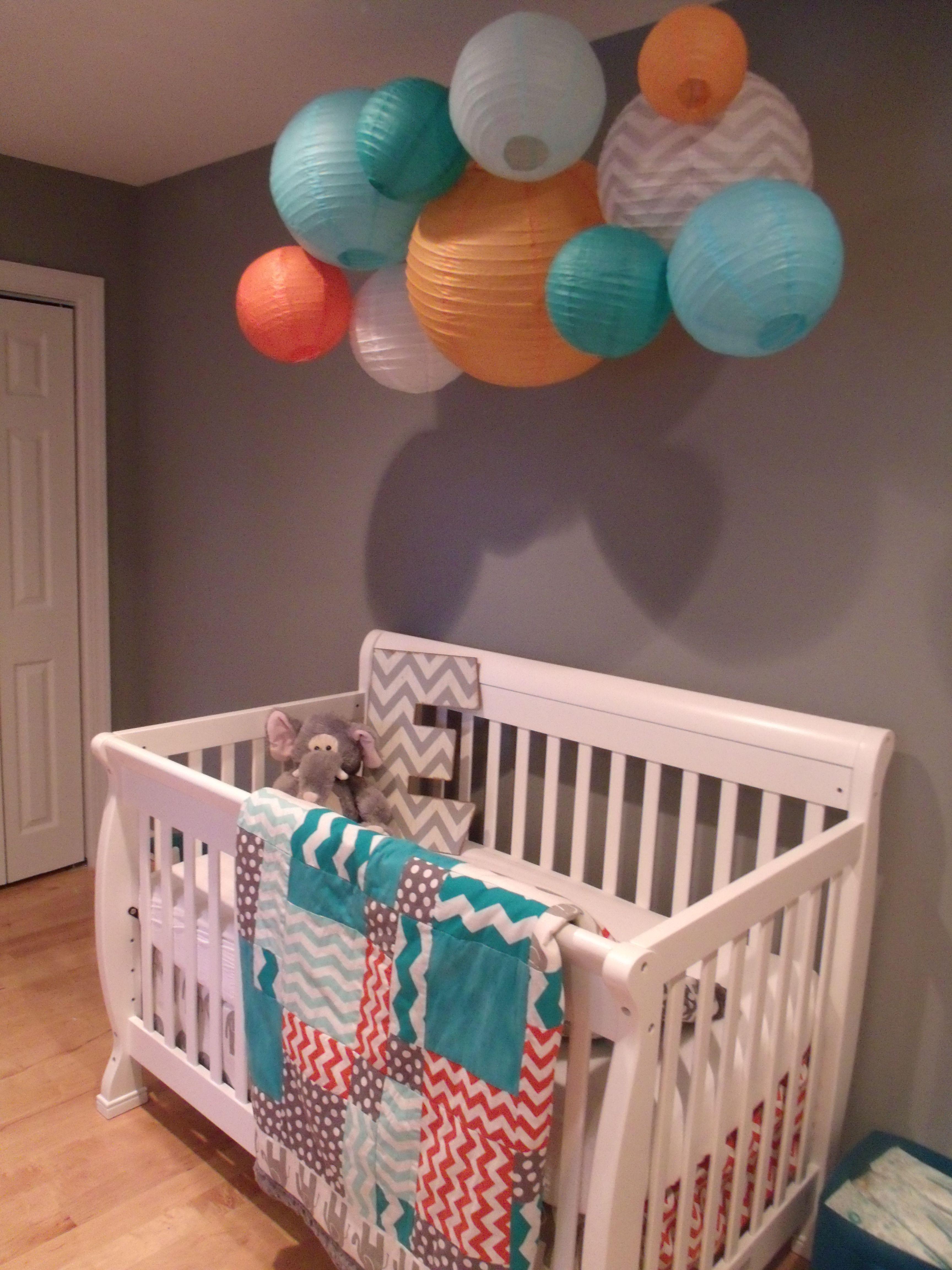 Orange Turquoise Grey Nursery For Baby Boy (Star Wars Elephants