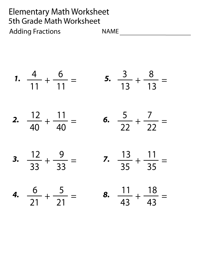 5th Grade Math Worksheets Adding Fraction Math