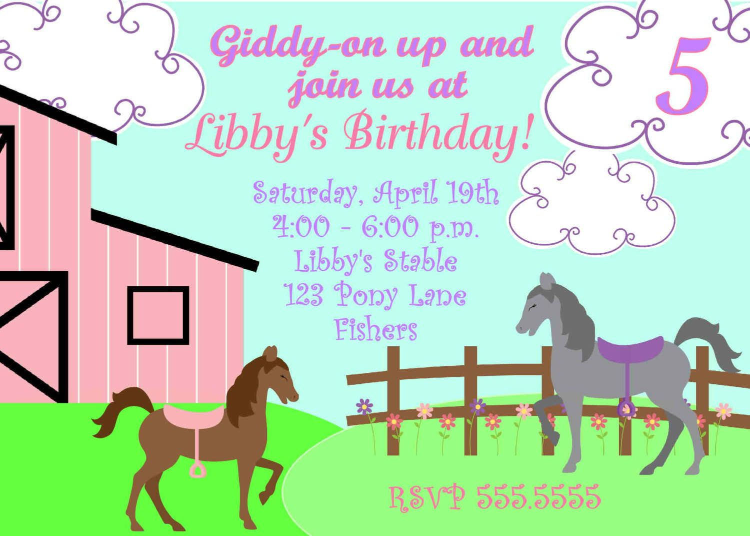 Free Printable Horse Party Invites
