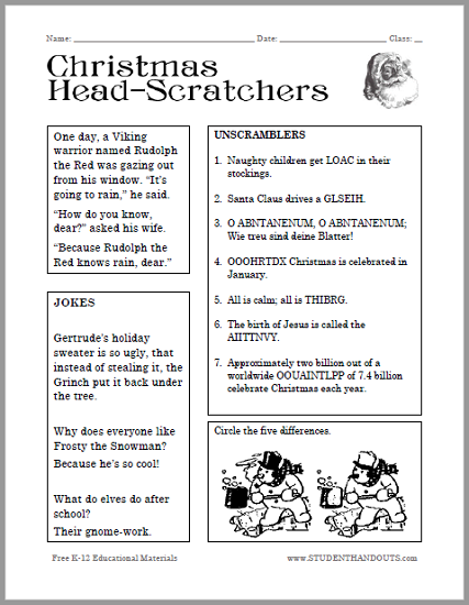 Christmas Headscratchers Worksheet for Kids Free to