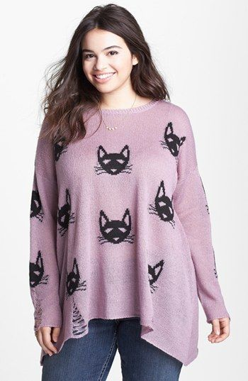 Love By Design 'Kitty' Intarsia Sweater (Plus Size) available at #Nordstrom
