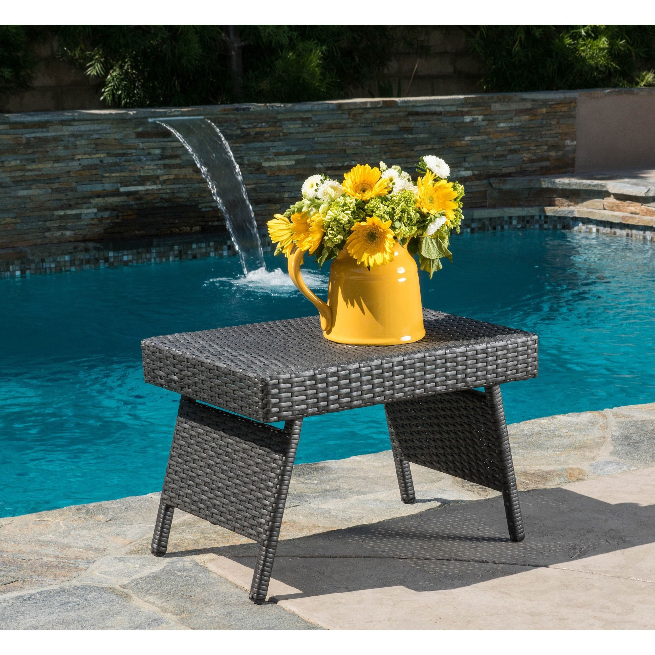 Outdoor Wicker Adjustable Folding Table By Christopher Knight Home (Brown),  Patio Furniture
