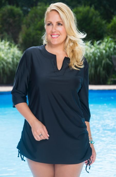 Hang Ten With The 3 4 Sleeve Plus Size Rash Guard Style