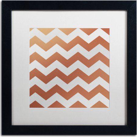 Trademark Fine Art Xmas Chevron 4 inch Canvas Art by Color Bakery, White Matte, Black Frame, Brown