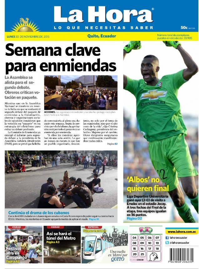 Buenos días estimados seguidores. Iniciamos una nueva semana presentando a portada para #Quito. Tema destacado:  Semana clave para las enmiendas >> http://bit.ly/1IjCgQw