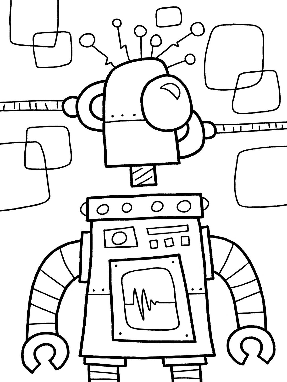 Robot Coloring Page 3484 | books and coloring | Pinterest | Robot