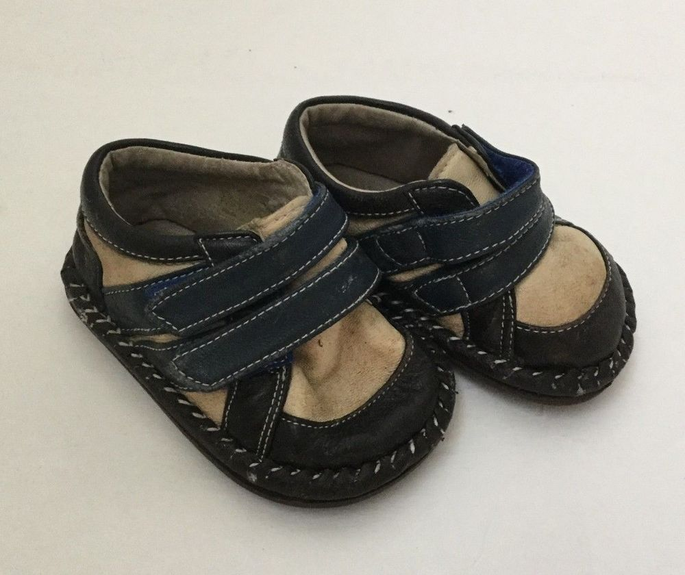 Baby Boy Leather Shoes Brown Navy Blue