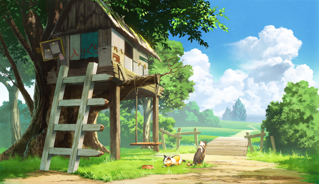 2376x1374 anime landscape, tree house, cats, clouds