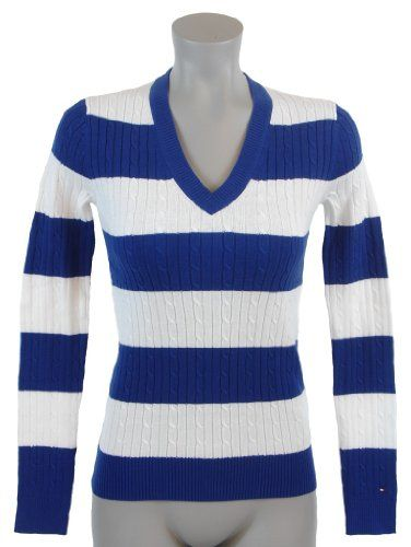Tommy Hilfiger Womens Cable Knit Striped Cotton Logo Sweater $39.99