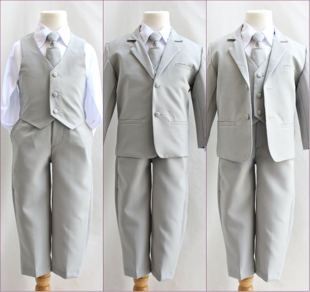 Silver/light grey infant toddler teen youth boy 5 pc formal suit ...